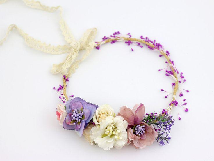 ♥ Pastelowy wianek na głowę ♥ - LolaWhite - Kwiaty do włosów