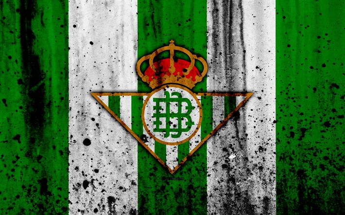 Download wallpapers Real Betis, 4k, grunge, La Liga, stone texture, soccer, football club, LaLiga, Real Betis FC
