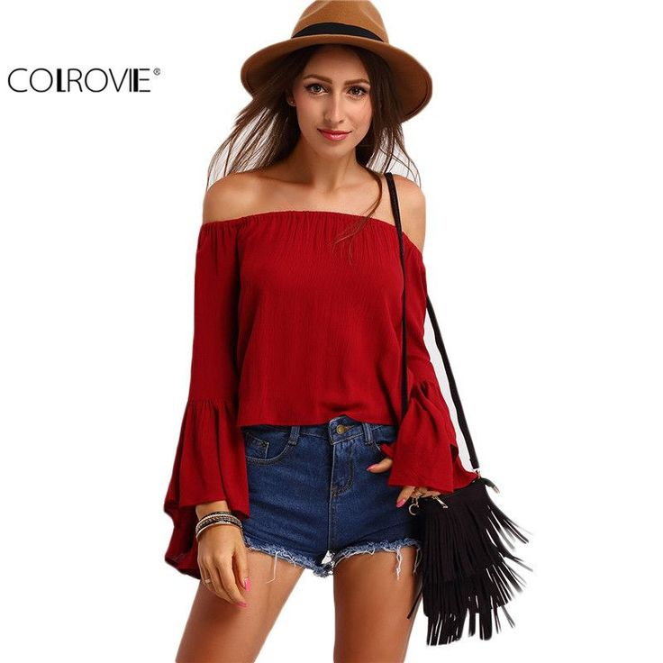 COLROVIE Spring/Summer Solid Burgundy Off the Shoulder Long Flare Sleeve Sexy Top Loose Shirt Designer Cheap Blouse