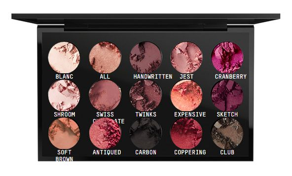 MAC Custom Eyeshadow Palette: Blanc Type, All That Glitters, Handwritten, Jest, Cranberry, Shroom, Swiss Chocolate, Twinks, Expensive Pink, Sketch, Soft Brown, Antiqued, Carbon, Coppering, Club