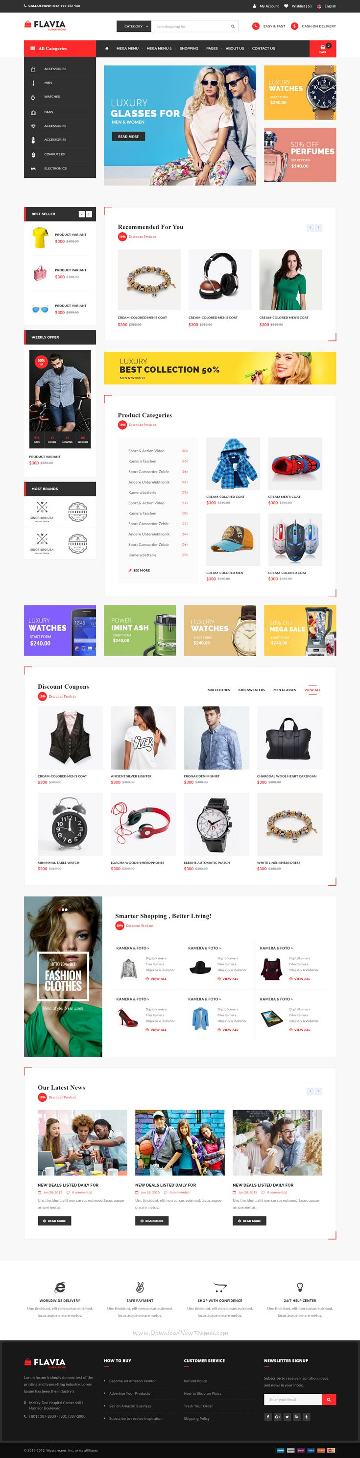 Flavia - HTML5, Bootstrap and CSS3 eCommerce Website Template comes with 7…