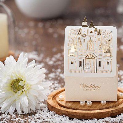 50pcs Gold Castle Shape Wedding Favor Candy Box Wedding Party Favor Gift Boxes