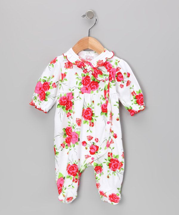 Take a look at this Mon Cheri Baby White & Red Sweet Ruffle Footie - Infant on zulily today!