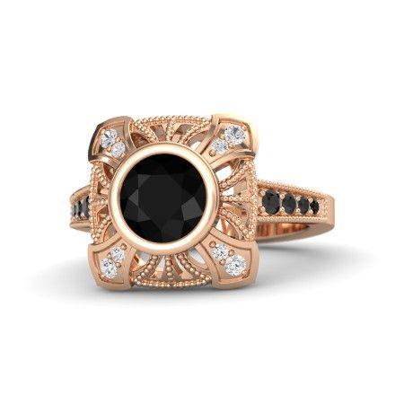Round Black Onyx 14K Rose Gold Ring with White Sapphire & Black Diamond…