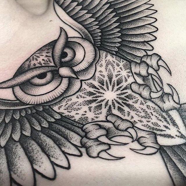 Dotwork Geometric Owl Tattoo By Ivan Garay Art Geometric Owl Tattoo Geometric Owl Tattoos