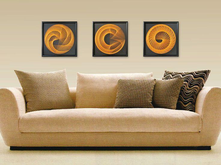 "Wall Art, Zen 3D String Art, Bohemien Art Set, Harmony in Black and Orange, 3 peaces, Framed 12,6""x12,6"" (32x32cm), UV effect - pinned by pin4etsy.com"