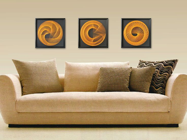 "Wall Art, Zen 3D String Art, Bohemien Art Set, Harmony in Black and Orange, 3 peaces, Framed 12,6""x12,6"" (32x32cm), UV effect - pinned by pin4etsy.com"