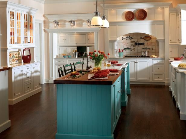 White Kitchen With a Pop of Color: Cottages Kitchens, Kitchens Design, Dreams Kitchens, Pop Of Colors, Kitchenisland, Kitchens Islands, Kitchens Cabinets, Kitchens Cabinetri, White Kitchens