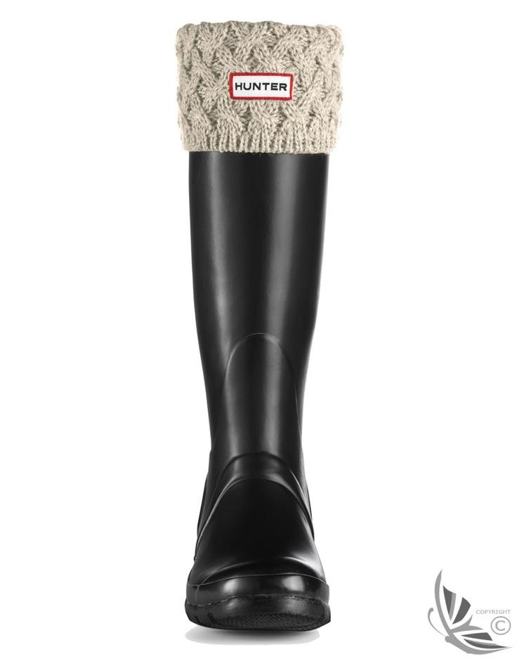 Hunter Basketweave Cuff Welly Socks - Ivory £28.00