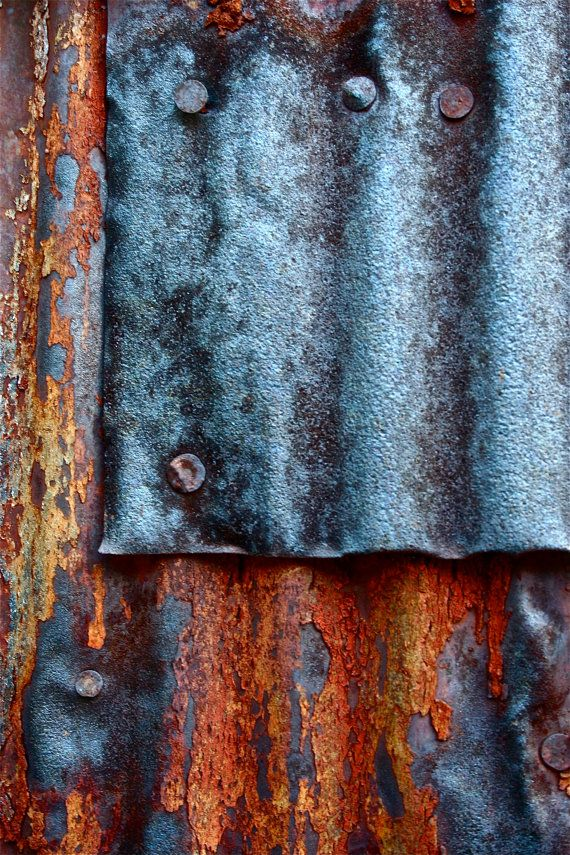 Abstract Fine Art Photography Industrial Rust, Blue Patch 8x12