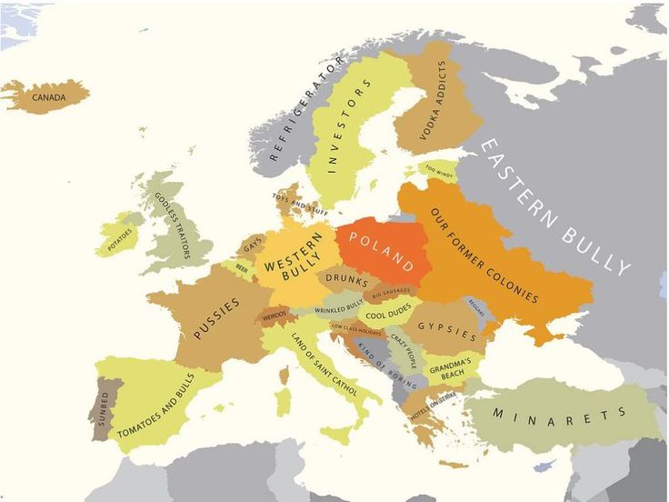 Blank map of Europe shows the political boundaries of the Europe