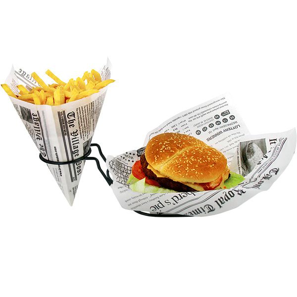 Retro Burger And French Fry Basket Burger Holder Chip