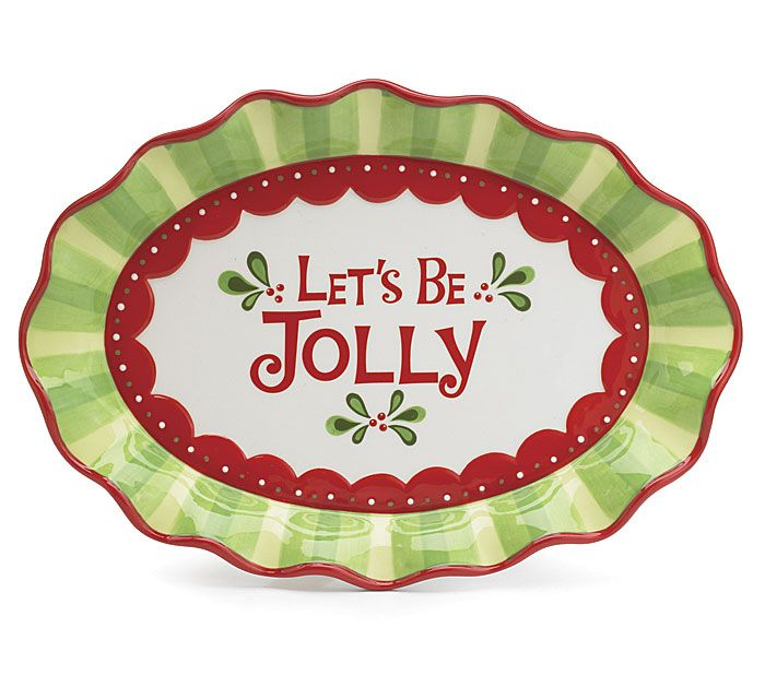 Hand painted raised ceramic platter with messsage Let\u0027s be X 13 X 9 of  sc 1 st  Pinterest : christmas ceramic plates - pezcame.com