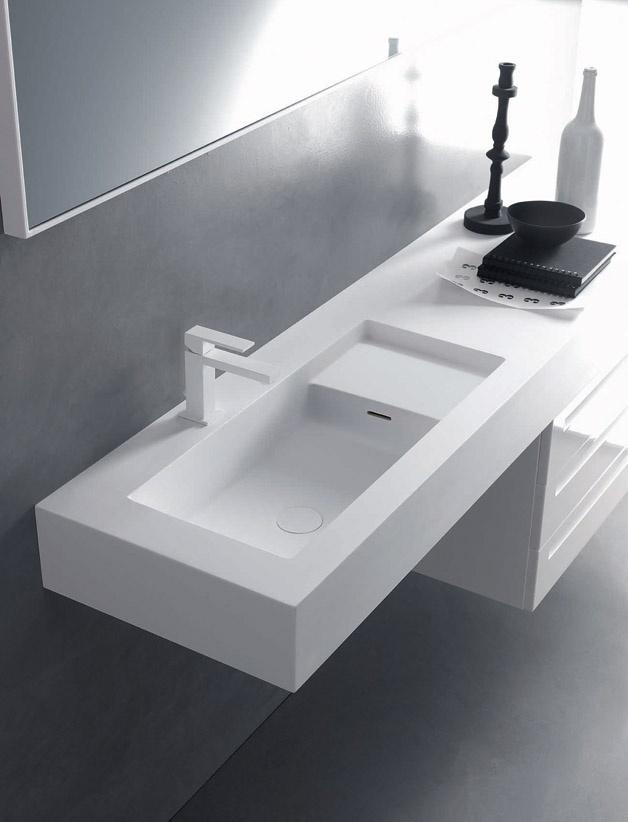 Piano in Cristalplant con lavabo integrato (Square)  //  Top in Cristalplant with built-it basin (Square) // project by: Michael Schmidt ///   http://www.cristalplant.it  ///   http://www.falper.it