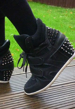 High Top Black Spike Studded Wedge Sneakers