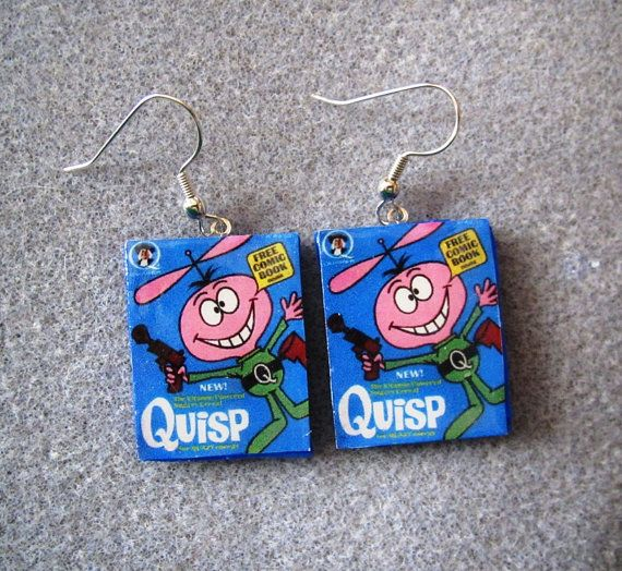 Quisp Cereal Kitsch Dangle Polymer Clay Junk Food Earrings Hypo Allergenic Nickle-Free
