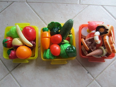 Sort your play food into categories to learn about the different food groups etc