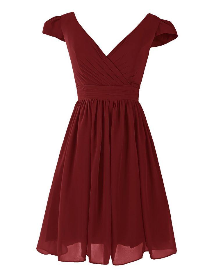Dresstells® Short V-neck Prom Dress Homecoming Bridesmaid Dress Burgundy Size16