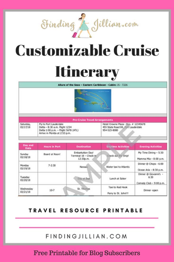 Customizable Cruise Itinerary Printable Findingjillian Com Best
