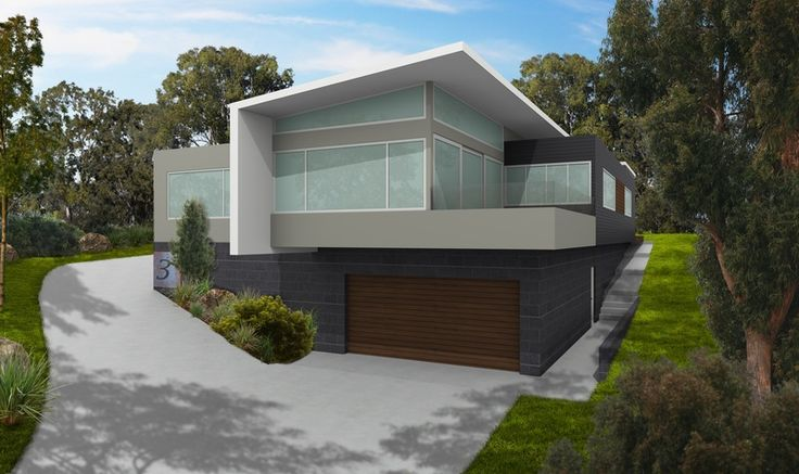 Artist Impression for colour selection purposes - Hobart TasmaniaRoof Colorbond Surfmist - Render Colorbond Bushland - Cladding Colorbond Monumant - Windows Colorbond Surfmist - Green glass glazing windows - Cedar Garage Door - Blade wall Colorbond Surfmist