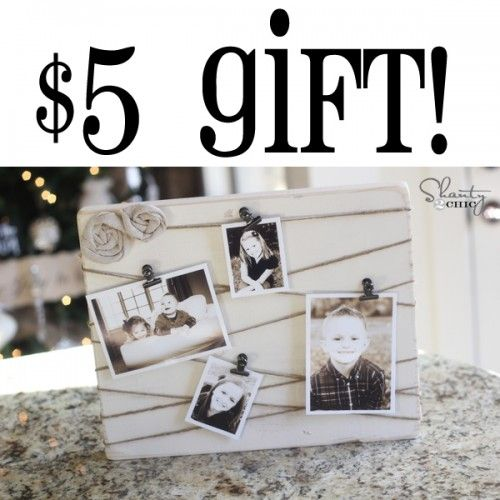 $5 Gift Idea. Three inexpensive gift ideas. Memo board diy pushpins, twine photo display.