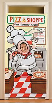 Pizza Party Photo Door Banner :   Made of plastic, it makes a great photo op at a party with a pizza party theme!  91.4cm x 183cm .