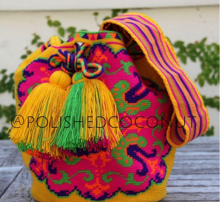 Pink, yellow, blue, & green handmade wayuu bag
