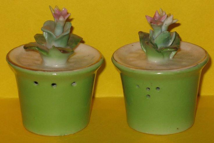 Vintage Salt & Pepper Shakers FLOWER in POT Japan Ceramic Cork Stoppers