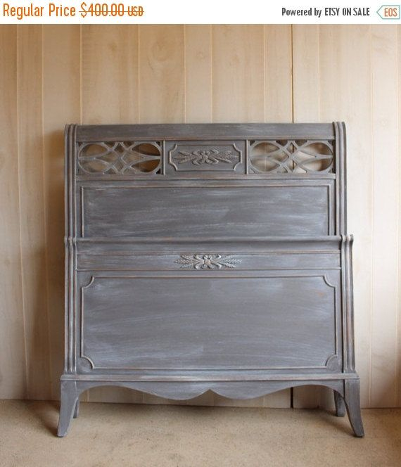Vintage Twin Bed Headboard Foot Board French Provincial Gray CYBER MONDAY SALE