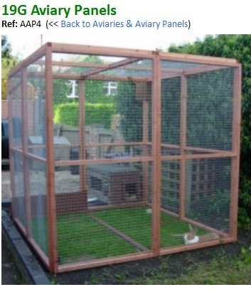 Our Aviary Panels are made from 30m x 30mm best planed wood with 1in x 1/2in 19g wire and are sold in pack of 1 TO 12 so you can make your aviary as large or as small as you want it.  The size of each panel is 6ft high x 3ft wide,  Safety porch 3ft x 3ft x 6ft high with full door is a added extra see below,  Don't forget to order your Aviary door , see bottom of page. Buy this product online or phone our office 01482 214 744