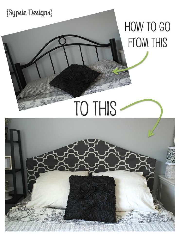 Hide an out-of-date metal headboard with a simple, slip-on cover.