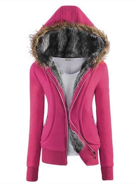 Casual Thicken Long Sleeve Fur Hooded Coat