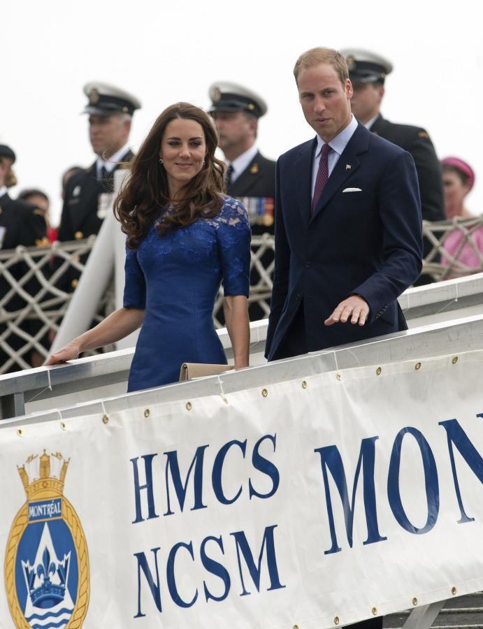 Kate & William Erdem Moralioghi Blue Lace Dress Quebec 3 July 2011