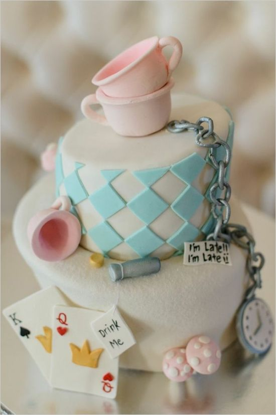 alice in wonderland cake by But Its Not Just Cakes #weddingcake #themedcake #weddingchicks http://www.weddingchicks.com/2014/03/07/winter-in-wonderland-wedding-ideas/