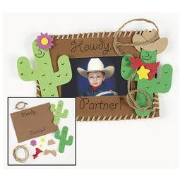 """12 Foam Western Photo Frame Magnet Craft Kits by OTC. $16.81. This is a fun craft for every cowboy and cowgirl to make at your Western party!. Each 7""""x 7"""" x 5"""" foam photo frame holds a 3 3/4"""" x 2 1/4"""" photo.. Kits include instructions and extra pieces.. All craft kit pieces are pre-packaged for individual use.. Western Photo Frame Magnet Craft Kit. Howdy partners!"""