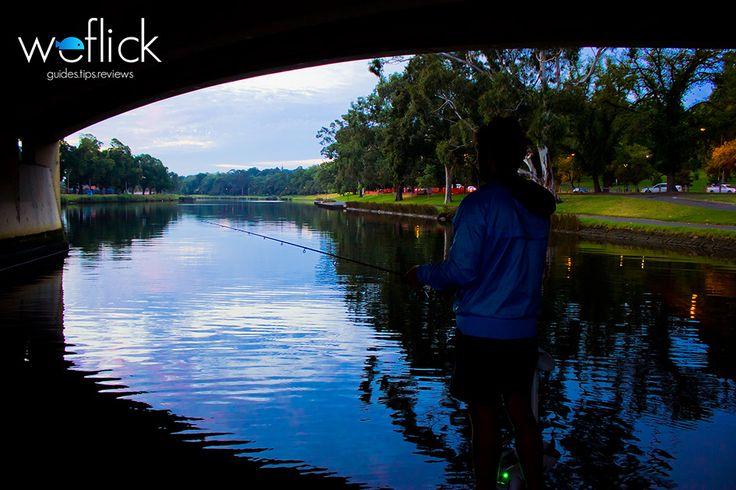 Flicking lures under the Punt Road Bridge. The Yarra in Melbourne.