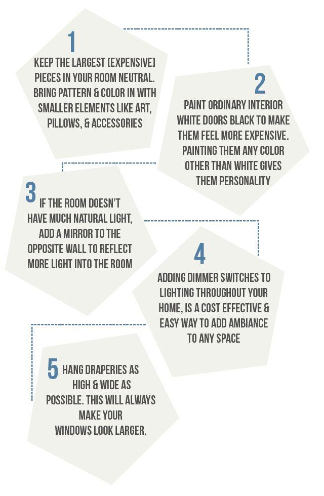5 interior design tips >>> easy home improvements. #hometricks #interiordesign