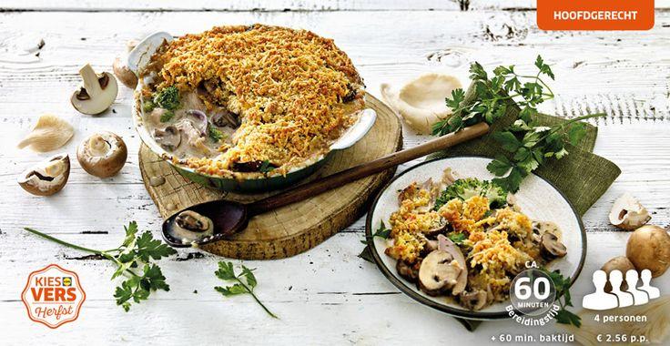 Herfst en ovenschotels: die twee horen bij elkaar! <3 Ovenschotel met kip, broccoli en een krokant broodkruim-kaaskorstje #lekkerlidl #kiesherfst #lidl