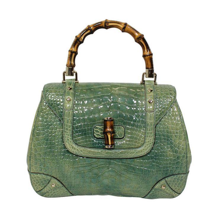 Gucci Vintage Green Alligator Shoulder Bag qzcXF5i