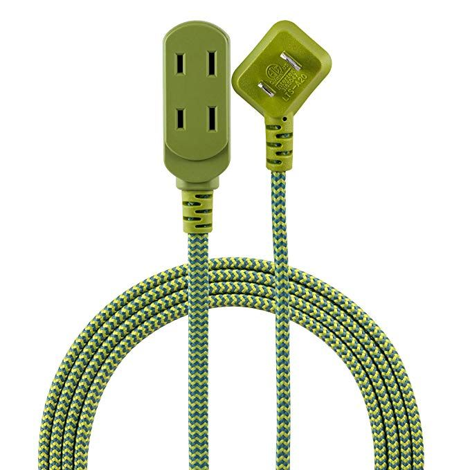 Cordinate Designer 3 Extension 2 Prong Power Strip Extra Long 8 Ft Cable With Flat Plug Braided Chevron Fabric Cord Slide To Loc Chevron Fabric Plugs Prong