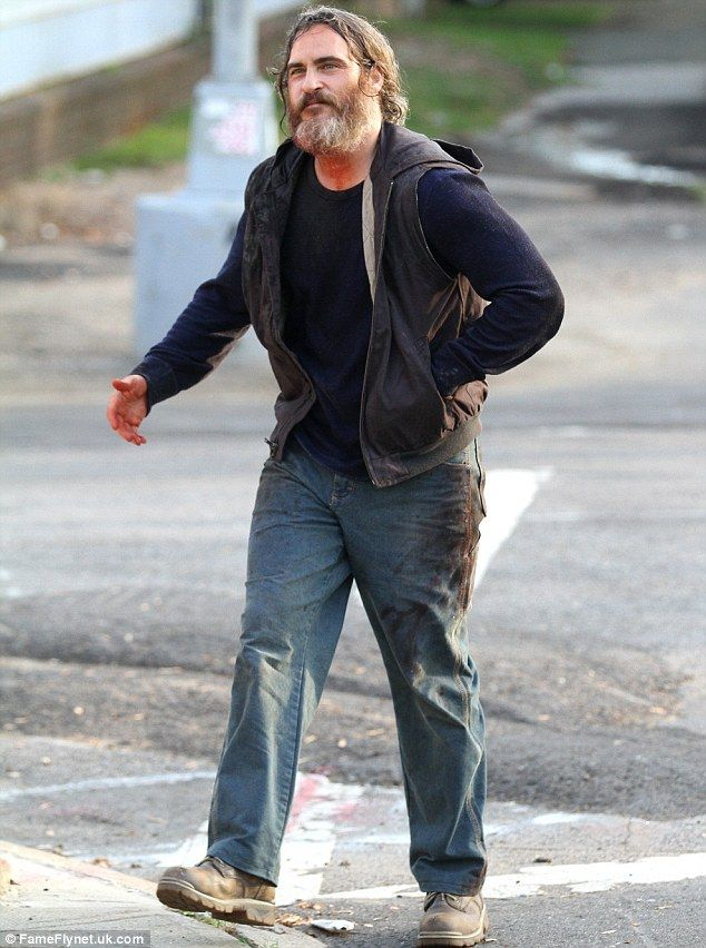 Joaquin Phoenix sports bloody beard while filming in New York City