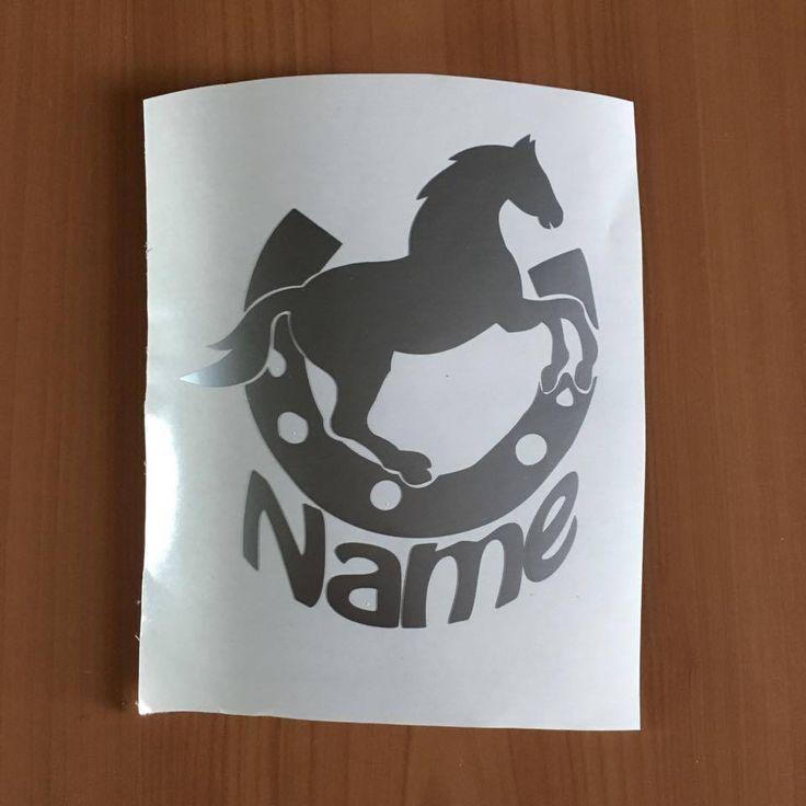 Hufeisen/ Pferd mit Wunschname Tuning Aufkleber Sticker ca 11x13 cm