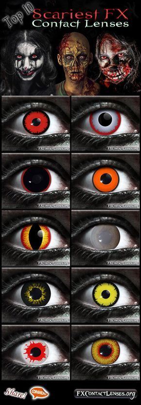"""Witness to the True eyes of Terror! A """"Top 10 Scariest FX Contact Lenses"""" list of Gothika Brand. This is in no particular order, but lets have some FUN. Tell us what you think the order should be? Or what takes the no. 1 spot? From top-left to top-right, and proceeding down from there. 1) Angelic Red 2) Berzerker 3) Hellraiser 4) Night Stalker 5) Banshee 6) Walking Dead 7) Black Wolf 8) Angelic Yellow 9) Reaper 10) Dragons Breath -- Please share, pin, & add us as friend! :) Scare you Later…"""