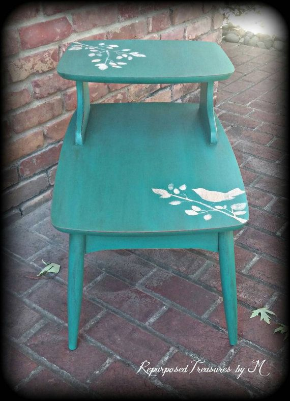 shabby chic end table distressed turquoise side by RepurposedbyM
