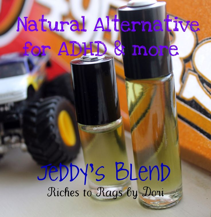Alternative for ADHD-Jeddy's Blend  35 drops Balance blend  15 drops Patchouli  30 drops Serenity  50 drops Lavender  15 drops Vetiver  75 drops of Fractionated Coconut Oil  ***  Fill a 1/3 oz glass roller bottle with the above Essential Oils and top with Fractionated Coconut Oil. Gently tip the sealed bottle back and forth to blend.