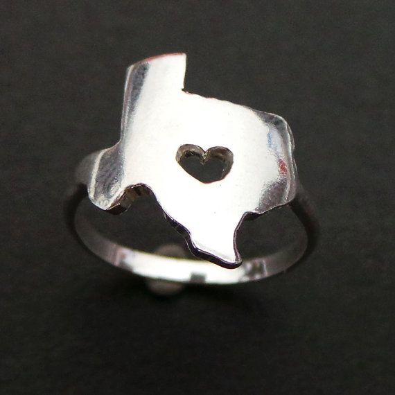 Heart Cut Out Texas Ring and other Custom States Ring - Christmas, Thanksgiving, New Year Gift by yhtanaff on Etsy