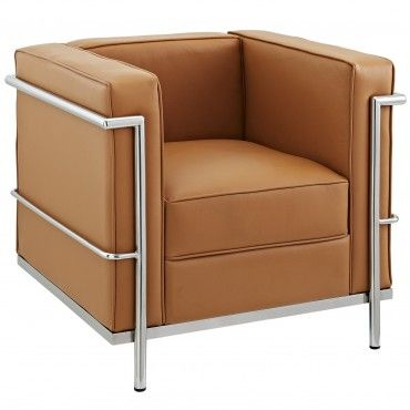 Modern Tan Leather Club Chair Inspired By LC2 Design