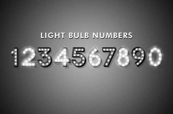 Retro Light Bulb Numbers by Semicircular on @creativemarket