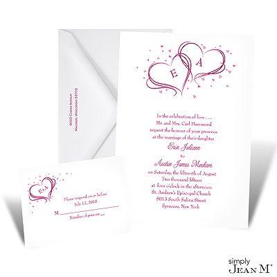 Monogram Hearts Wedding Invitation - White
