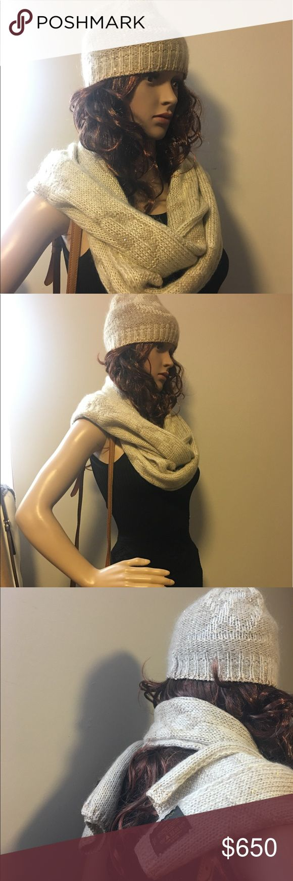 Louis Vuitton monogram scarf and hat - Authentic Louis Vuitton Set Scarf + Hat  - 30cm x 200cm about  - Color beige and gold   - 29% mohair, 23% nylon, 15% cotton, 11% acrylic,  5% wool, 5% polyester, 2% rayon  - Used not new with defect see last photo  - Sell without box  - Sell together scarf & hat Louis Vuitton Accessories Scarves & Wraps